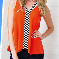 Touch Of Chevron Top: Red-Orange | Hope's