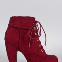 Women's Bamboo Suede Cuffed Collar Lace Up Bootie