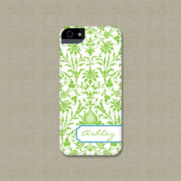 Personalized iPhone 5 Case, Green Damask iPhone 4 Case, Preppy Cell Phone Cover, iPhone 5S, iPhone 5C Case