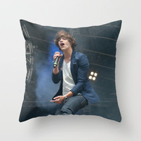 Harry Styles 1 Direction Singing  Throw Pillow by Karl Wilson Photography