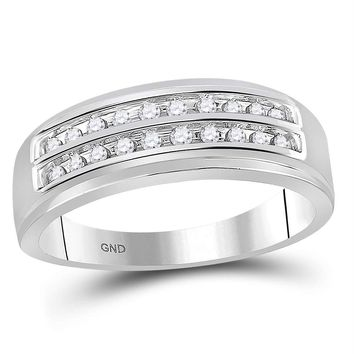 10kt White Gold Mens Round Diamond 2-row Wedding Anniversary Band Ring 1/4 Cttw