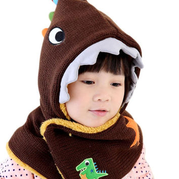 Winter Wool Knitted Kids Hat Cute Dinosaur Baby Boys Girls Shawls Hooded Cowl Beanie Caps #2415