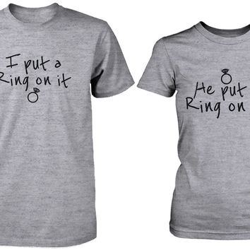 Ring On It Couple Tees His and Hers Wedding Shirt Set Engagement Matching T-shirt