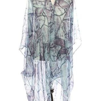 Poncho Distressed Print Sheer Cover Up 32 Inch Long One Size