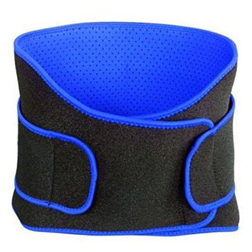 Waist Trimmer Belt Support Brace, Adjustable Lower Back Lumbar Support Straps - Weight Loss Ab Belt, Breathable Stomach Wrap Waist Trainer (Black and Blue)