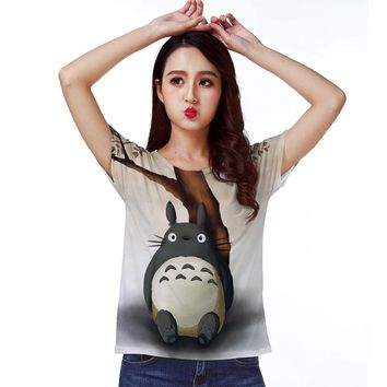 Track Ship+New Vintage Retro T-shirt Cute Friend My Neighbor Totoro Sit Tree Side 1131
