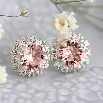 Blush Studs, Silver Blush Studs, Swarovski Blush Earrings, Bridesmaids Blush Earrings,Silver Stud Earrings, Bridal Earrings, Blush Earrings