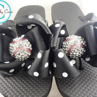 Baseball Bling Rhinestone  Bow Flip Flops  Rhinestone, choose your bow colors,  Bling Buckle Boutique Ribbon Flip Flops