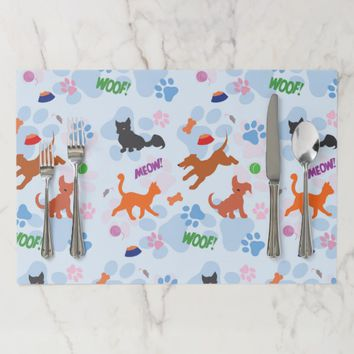 Puppies and Kittens Paper Placemat