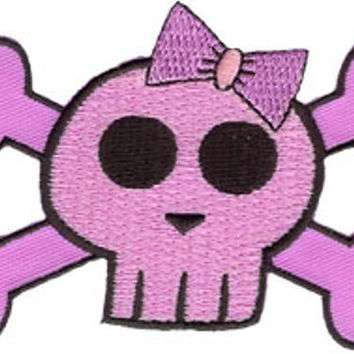 Hello Kitty Iron-On Patch Pink Skull With Bow