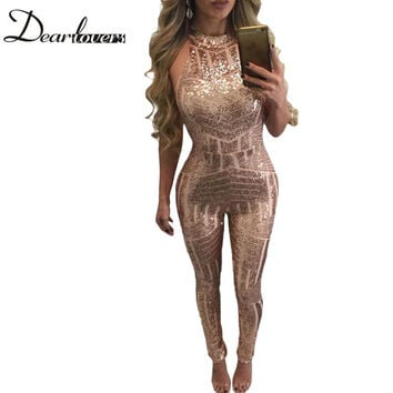 Dear lover Macacao Feminino 2017 Charming Woman Bodysuit Blush Geometric Keyhole Back Sequin Jumpsuit LC60895 Summer Playsuit