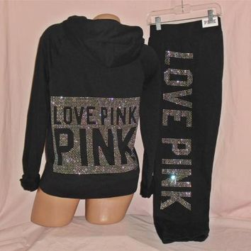 Victoria's Secret LOVE PINK Black Crystal BLING HOODIE & SWEAT PANTS NWT Medium