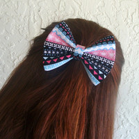Christmas Hair Bow Knitted Pattern Sweater Hair Clip Girly Girl Teen Woman Alligator Clip, French Barrette