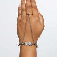 Pave Bow Hand Chain