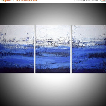 "EXTRA LARGE wall art triptych 3 panel wall contemporary art ""Ultramarine Triptych"" canvas original painting abstract canvas kunst big size"
