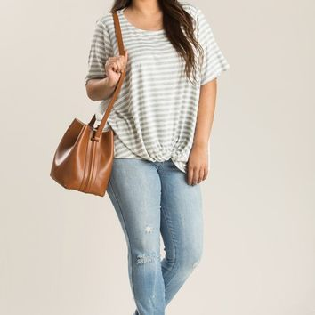 Plus Sadie Grey Stripe Crochet Top