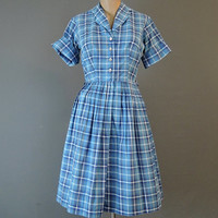 50s Blue Plaid Shirtwaist Dress, 36 bust, Full Pleated Skirt, Vintage 1960s Cotton Day Dress, Fit & Flare