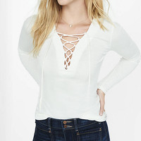 Lace-up Ribbed Long Sleeve Tee from EXPRESS