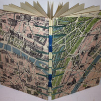 85x55 Map of Paris Coptic Stitched Journal/Sketchbook by MadieVan