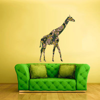 Full Color Wall Decal Mural Sticker Decor Art Poster Gift Giraffe Pattern Flowers Floral Africa Animal (col500)
