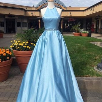 A Line Halter Blue Ball Gown Simple Long Prom Dress