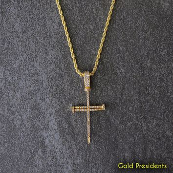 Gold Nail Cross Pendant & Necklace