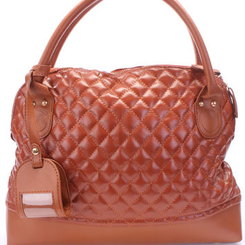 Cognac Faux Leather Quilted Design Tote Handbag