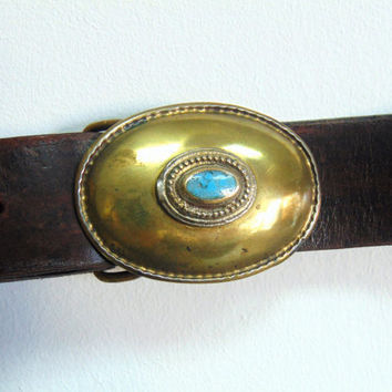 Round Classic buckle leather belt,Turquoise ston bronze leather, hand made leather belt, unisex belt, women  belt, brown belt black belt