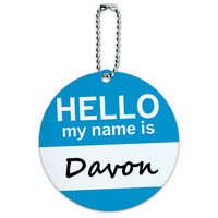 Davon Hello My Name Is Round ID Card Luggage Tag