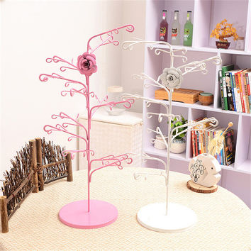 New Style Jewelry Earring Display Flower Necklace Jewelry Display Rack Stand Vintage Earrings Holder