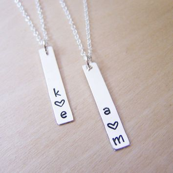 Sterling Silver Vertical Bar Hand Stamped Heart Initial Personalized Necklace / Gift for Her