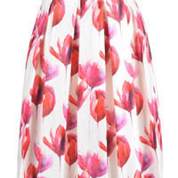 White High Waist Tulip Floral Print Skirt