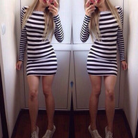 Fashion striped tight dress