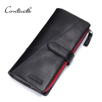 CONTACT'S Vintage Leather Wallets Guarantee 100% Genuine Leather Men Wallets Hasp Male Leather Purses Zip Coin Pocket Man Purses