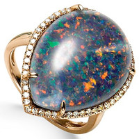 Opal Triplet (21-1/2 ct. t.w.) and Diamond (3/8 ct. t.w.) Ring in 14k Rose Gold