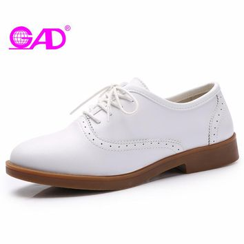 GAD Shoes Women 2017 Spring/Autumn New Arrival Round Toe Lace-up Women Oxford Shoes Fashion Vintage Casual Flat Shoes Women