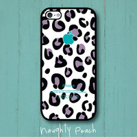 iPhone 5 Case - Purple leopard pattern (Black case)