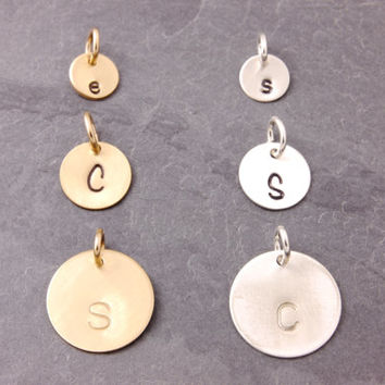 Add On Charms, add charms, disk, disc, initial disc, initial disk, personalized disc, hand stamped, sterling silver disc, gold filled disk