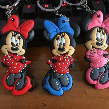 mickey minnie princess PVC  Bag Parts Mini Anime Action Figure Key Ring Kids Toy Pendant bag Chain Holder Accessories