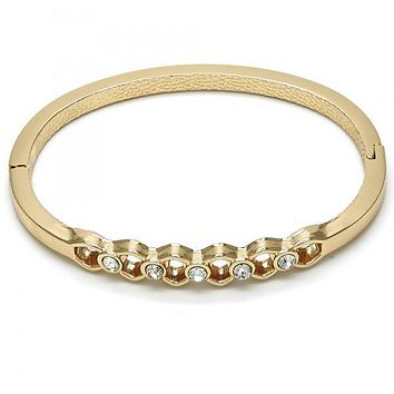 Gold Layered 07.307.0014.05 Individual Bangle, with White Crystal, Polished Finish, Golden Tone (04 MM Thickness, Size 5 - 2.50 Diameter)