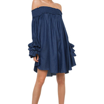 Gracia Off Shoulder Dark Denim Mini Dress