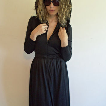 Awesome Vintage 70s Designer Miss Continental Black Zip Up Hoodie Maxi Witchy Dress
