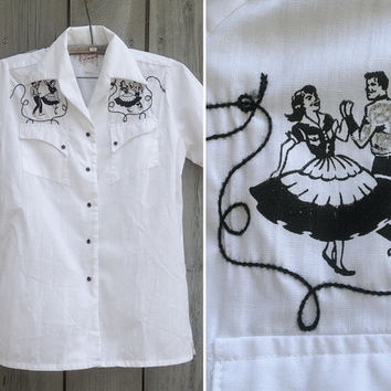Vintage shirt | Men's short-sleeved Rockmount rockabilly Western square dance shirt with embroidery