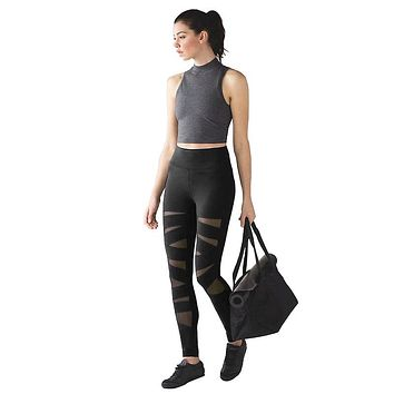 Women's New Fashion Tights Pants Female  Mesh Workout Fitness Pants
