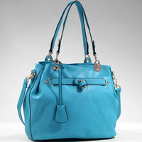 Women's Classic Belted Tote w/ Side Snaps for Expansion - Turquoise Color: Turquoise