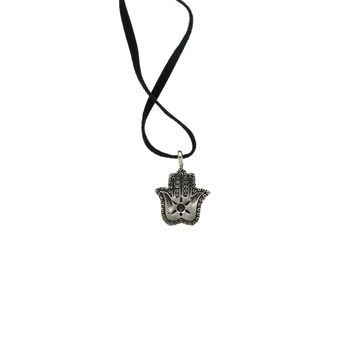 Jewish Museum Hamsa Charm Sterling Silver Suede Necklace