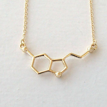 Serotonin Molecule Necklace - Science DNA Necklace for Happiness and Well-being