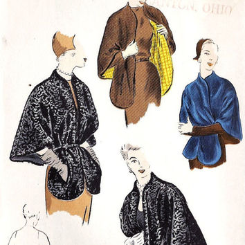 1950's EVENING Cape Vintage Sewing Pattern by MissBettysAttic