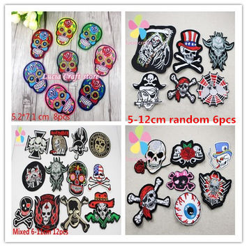 Skull Skeleton Embroidery Iron On Patches Clothes Appliques Sew On Motif Badge DIY Clothing Bag 6pcs 8pcs 12pcs 20010118