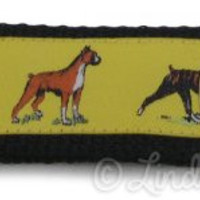 Boxer Dog Breed Keychain Wristlet FOB - Yellow